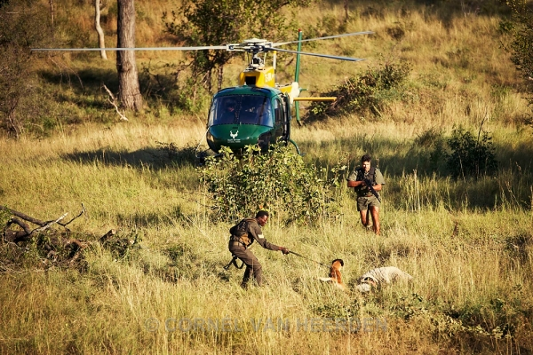 As part of a training exercise. Ranger and his dog catch a 'poacher'