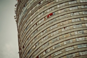 Al Jazeera feature on the Ponte Building and surrounding areas in Johannesburg CBD, South Africa. A curtain outside a Ponte window, blown by the wind . Picture: Cornel van Heerden/Al Jazeera