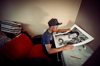 Al Jazeera feature on the Ponte Building and surrounding areas in Johannesburg CBD, South Africa. Desire Seko, an artist that stays on the 34th floor. He does pencil drawings. . Picture: Cornel van Heerden/Al Jazeera