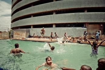Al Jazeera feature on the Ponte Building and surrounding areas in Johannesburg CBD, South Africa. Kids play in the Ponte pool. . Picture: Cornel van Heerden/Al Jazeera