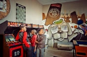 Al Jazeera feature on the Ponte Building and surrounding areas in Johannesburg CBD, South Africa. Kids play video games in Dlala Nje. A safe haven for kids in Ponte. . Picture: Cornel van Heerden/Al Jazeera