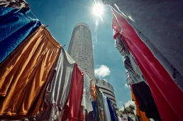 Al Jazeera feature on the Ponte Building and surrounding areas in Johannesburg CBD, South Africa. Ponte rises behind washing of the Ponte residents. . Picture: Cornel van Heerden/Al Jazeera